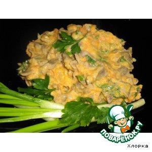 Рецепт: Куриные желудки Пупочки-грибочки