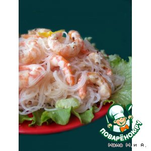 Рецепт: Креветки в чесночно-сливочном соусе с фунчозой