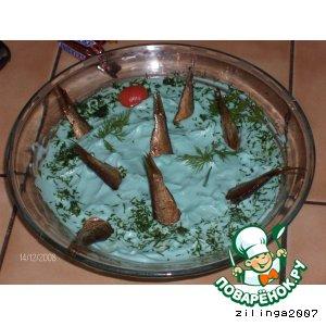 "Рецепт: Салат ""Рыбки в пруду"""