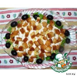 Рецепт: Салат Цезарь с креветками