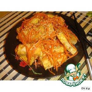 Рецепт: Салат из жареного тофу по-корейски