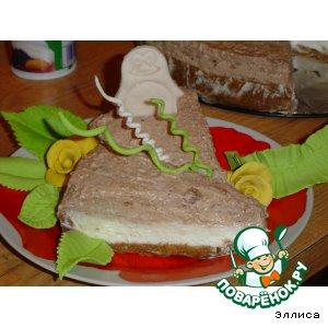Рецепт: Двухцветный творожный торт