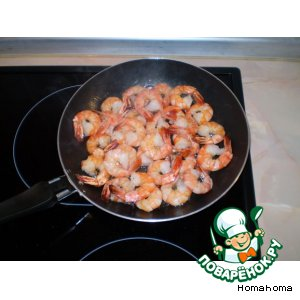 Рецепт: Креветки с чесноком