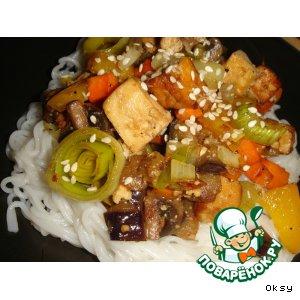 Рецепт: Тофу с имбирем и кунжутом