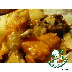 Рецепт: Мясо с тыквой и картофелем