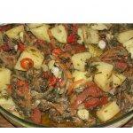 Мясо с овощами в рукаве