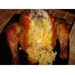 Курица, фаршированная рисом, кукурузой и креветками
