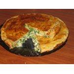 Нежный  пирог  из трех сыров с луком