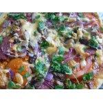 Пицца с салями , помидорами и синим луком
