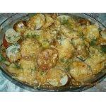 Картошка с куриным фаршем и овощами,  запечeнная в духовке