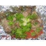 Мясо с картофелем и овощами в мешочках из фольги