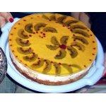 Торт с фруктами желе и творогом