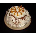 Заливной шоколадный торт с абрикосами