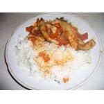 Свинина в томатно-чесночном маринаде с рисом