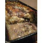Печень с грибами под соусом