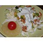 Теплый салатик с зеленой заправкой и креветками