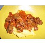 Соус из куриных субпродуктов с полентой