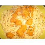 Спагетти с тыквой и креветками