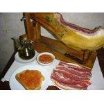 Ветчина, хлеб с помидорами и маслом