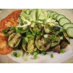 Салат с куриной печенью и цуккини