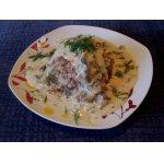 Гречневая каша с сырно-грибным соусом