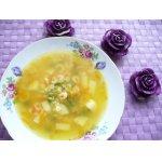 Суп с овощами, макаронами и креветками