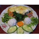Рыба под овощной шубой в омлете