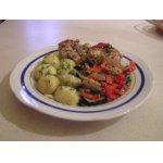 Кролик  под шубой из овощей с орехово-грибным соусом