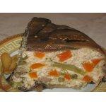 Баклажановый террин с куриным фаршем и овощами