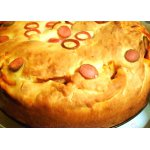 Пирог с мясом, тыквой и маринованными огурцами