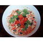 Салат из курицы с запеченными помидорами