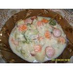 Картофель, тушенный в сливках с овощами