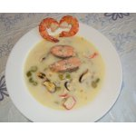 Суп со спаржей и морепродуктами