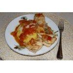 Курица в томатном соусе с полентой