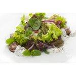 Салат с куриной печенью и красным луком
