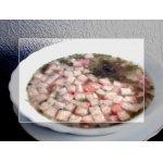 Суп с горохом, беконом и сухариками