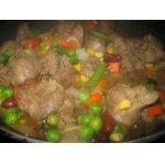 Нежная куриная печень с рисом и овощами