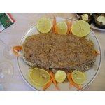 Рыбный рулет с мясной начинкой