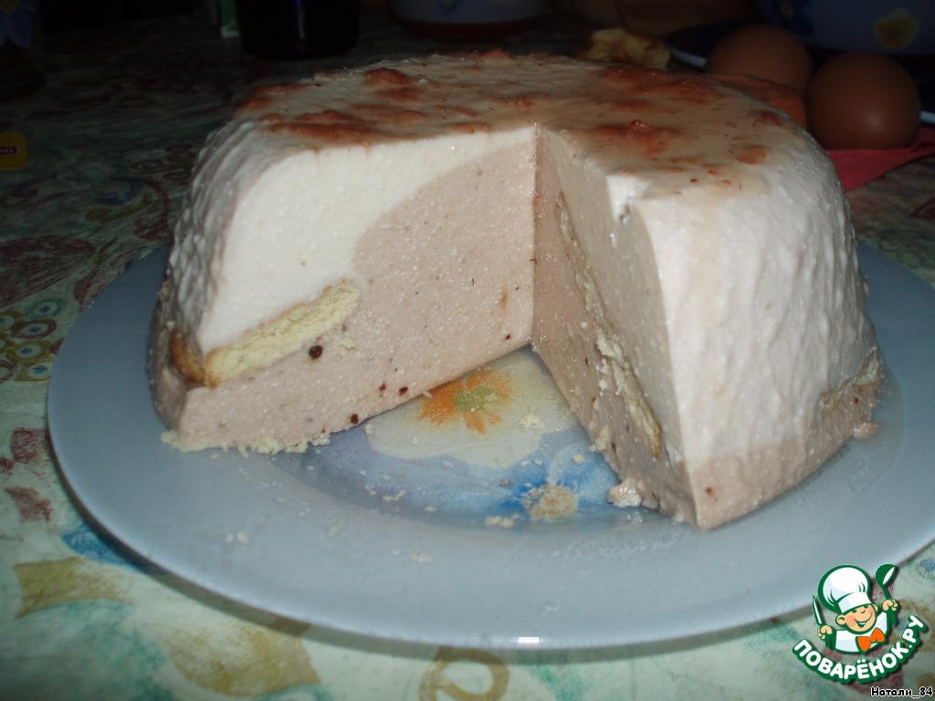 Творожно-банановый торт-желе