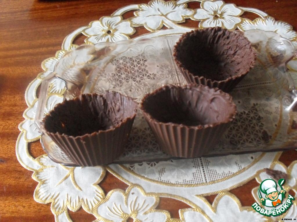 Шоколадные тарталетки с творожным десертом