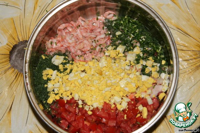 рецепт окрошки с креветками