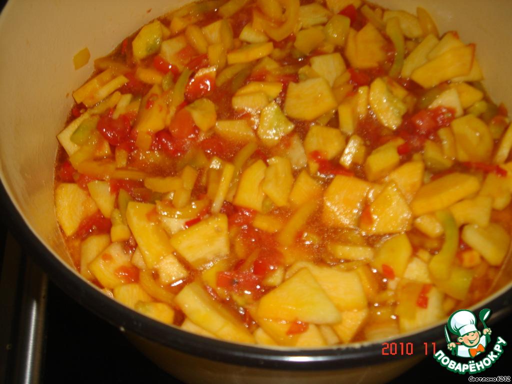 салат из кабачков помидор и сладкого перца на зиму