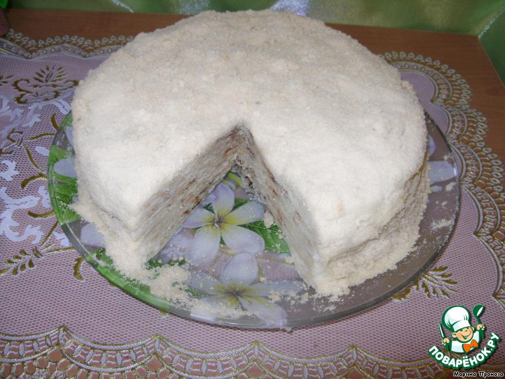 Жареный торт Наполеон с заварным кремом