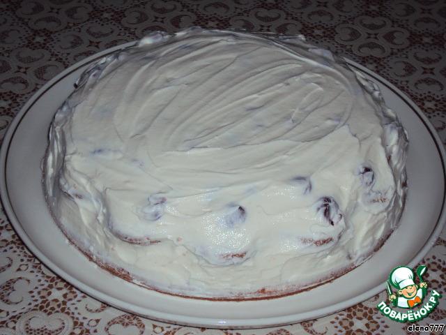 """Торт на киселе """"Вишня со сливками"""""""