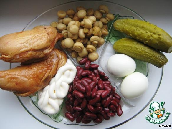 салат из фасоли с курицей рецепт