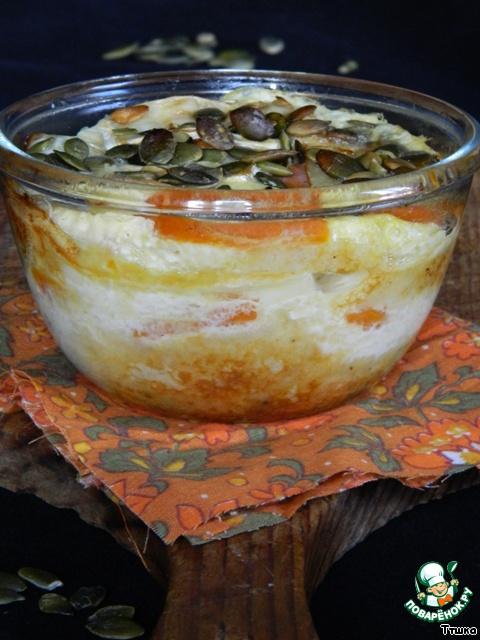 Хлебный пудинг с тыквой и тыквенными семечками