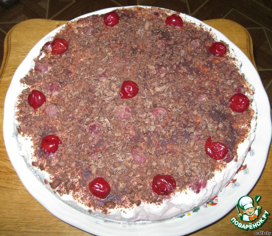 Двухслойный воздушный, нежный торт без выпечки