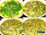 Ставим вариться картофель в трeхлитровую кастрюлю. Фрикадельки варим в другой кастрюле. Когда сварятся, переложить в миску, а бульон процедить в суп. Лук репчатый, сухие овощи и зелень, кубик бульонный выкладываем туда же. В самом конце добавить крапиву. Суп готов.