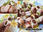 Шашлычки из индюшиной печени с беконом и ореховым соусом ингредиенты