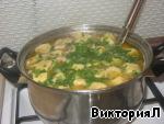 Суп куриный с рулетиками